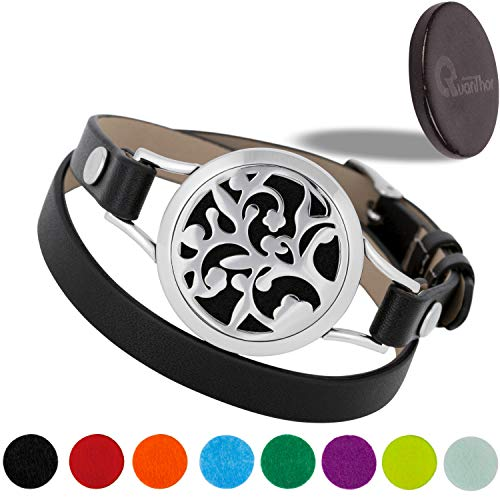 QUANTHOR EMF Protection Bracelet with Black Crystal Disk 3025 Negative Ions - (2 in 1) Unique Anti EMF Shield for Cell Phone, Laptop for a Modern Woman who Also Loves Essential Oil Bracelets