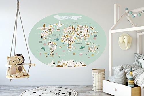 Menudos Cuadros Vinilo Decorativo Infantil mapamundi Ovalado Mint de Animales y monumentos...