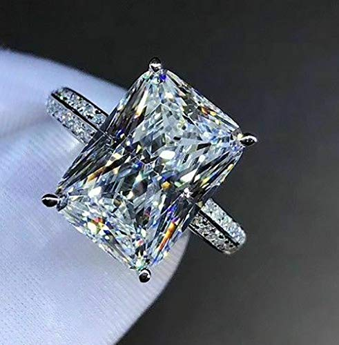 Longfu Fashion Jewelry 925 Sterling Silver Perfect Square Cut Rectangle 5ct CZ Engagement Ring Jewelry Ladies Ring Square Crystal Engagement Ring Cubic Zirconia Promise Aura Ring (7)
