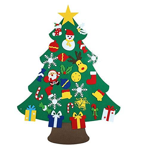 Shareconn Filz Weihnachtsbaum,3ft DIY Weihnachtsbaum für Kinder Mit 30 Pcs Ornamente, Weihnachten Geschenk,Home Tür Wand Klassische Indoor Weihnachtsdekoration