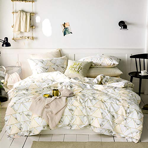 Taupe Marble Duvet Cover Set Queen Triangles Geometric Pattern Print Luxury Reversible Bedding Set White and Cream Nordic Modern Quilt Comforter Cover with Zipper