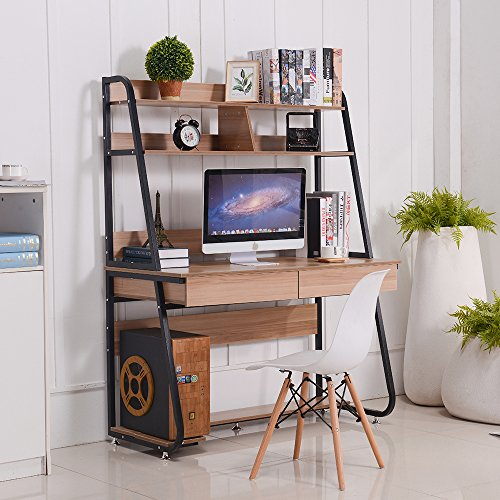 Emall Life Multi-Functional Computer Desk with Bookshelf and Drawers Home Office PC Laptop Study Table (Black Shelf and Light Walnut)