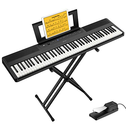 Donner DEP-45 88 Key Semi Weighted Keyboard Portable Digital Piano with Stand, Sustain Pedal, 20W Built in Speakers, 10 Premium Voices, Headphone Output, Bluetooth MIDI Beginner Electric Keyboard