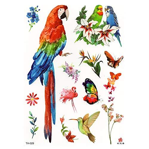 Neues Design Parrot Fake Tattoo für Erwachsene Original wasserdichte temporäre Arm Tatoo Aufkleber Body Art Bird Tattoos