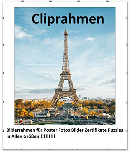 FlexiPeople Cliprahmen Bilderrahmen Plakatrahmen im Paket Rahmenlos - Farblos Plexiglas Wechselrahmen für Fotos Poster viele Größen Rechteckig mit Clips gut für Wohnzimmer, Esszimmer, Küche (50x70cm)