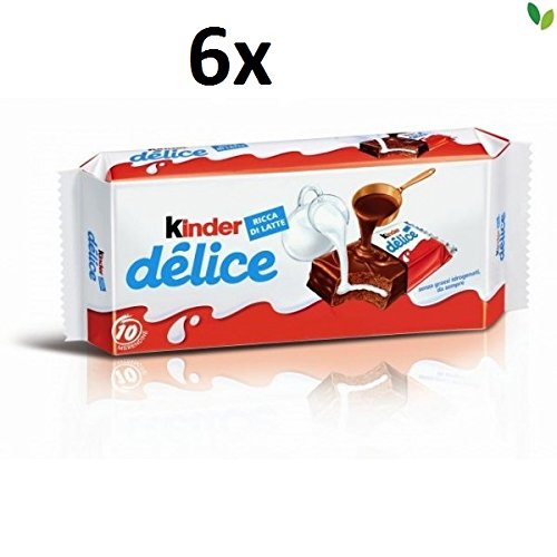 Kinder 6X Ferrero Delice Cacao Sponge Fingers with Milk Filling (10x 42g) Cakes Snack
