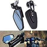 ViZe 7/8'' 22mm Specchietti Moto Manubrio Retrovisori Specchio Posteriore Universale Nero-Blu