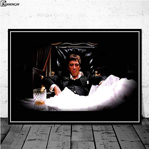 Flduod AL Pacino Scarface Gangster Pate Filmplakat Wandkunst Leinwand Malerei Poster und Drucke für Raumdekoration Home Decor60x75cm