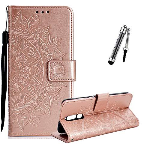 ZCRO Coque pour Huawei Mate 10 Lite, Coque Housse Case Portefeuille Cover Élégant Cuir Porte Carte Magnétique Rabat Flip Case Etui Antichoc et Stylet pour Huawei Mate 10 Lite (Or Rose)