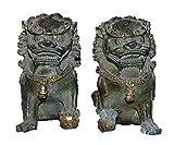 Fashion158 bronce chino dorado Fengshui foo perro león Palacio puerta Guardian Beast Estatua