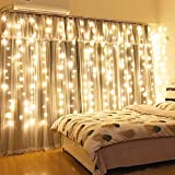 Xmifer Window Curtain String Light, 300 LED USB Powered String Lights Wedding Party Home Garden Bedroom Outdoor Indoor Wall Decorations, Warm White (9.8x9.8 Ft)