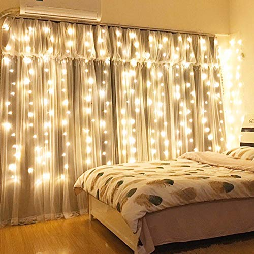 Xmifer Window Curtain String Light, 300 LED USB Powered String Lights Wedding Party Home Garden Bedroom Outdoor Indoor...