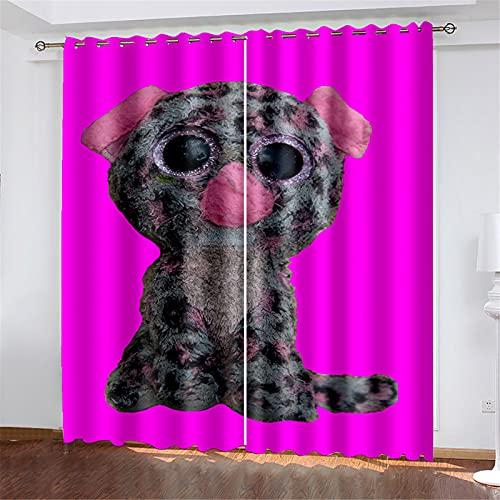 FACWAWF El Patrón De Perro Impreso En 3D Tiene Un Buen Efecto De Aislamiento Térmico Y La Forma De Onda Se USA para Cortinas De Balcón En La Sala De Estar, El Dormitorio Y El Estudio. 184x160cm(2pcs)