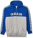 adidas Chaqueta de chándal con capucha para hombre, color azul, blanco, XXL