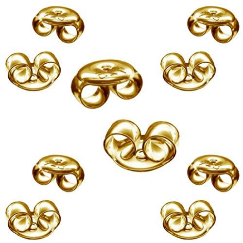 DIY925 My-Bead 5 Paar Pousetten 4.5mm Gegenstück für Ohrstecker 925 Silber 24K vergoldet Ohrring Verschlüsse Gold