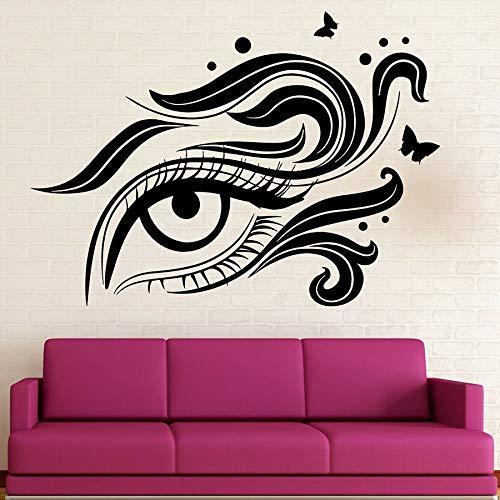Cils Stickers Muraux Yeux Cosmétiques Maquillage Salon De Beauté Fille Femme Femme Chambre Décoration De La Maison Papillon Vinyle Fenêtre Decal 57 * 79 Cm