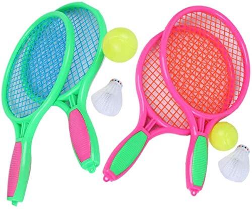 HLD Kinderschläger Set Tennisbälle Spielzeug-Geschenk for Jungen Junior Tennisschläger Kunststoff Tennisschläger for Kinder Outdoor-Spielzeug for Kleinkinder Alter 3-5 for Outdoor-Training