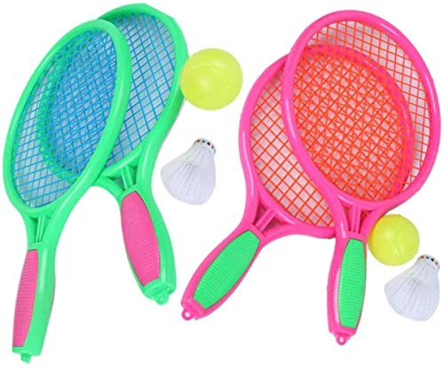 HLD Kinderschläger Set Tennisbälle Spielzeug-Geschenk for Jungen Junior Tennisschläger Kunststoff Tennisschläger for Kinder Outdoor-Spielzeug for Kleinkinder Alter 3-5 for Outdoor-Training