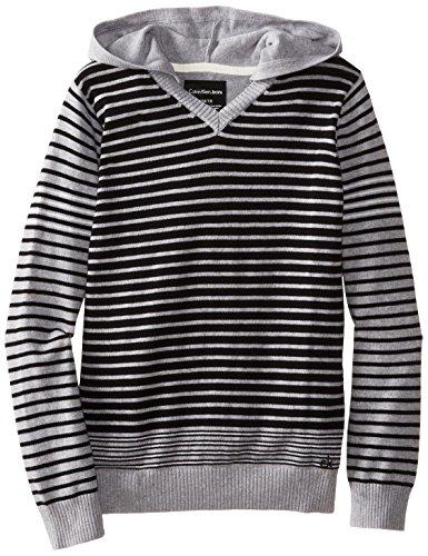 Calvin Klein Big Boys' CK Stripe Long Sleeve Sweater, Grey Heather, Medium