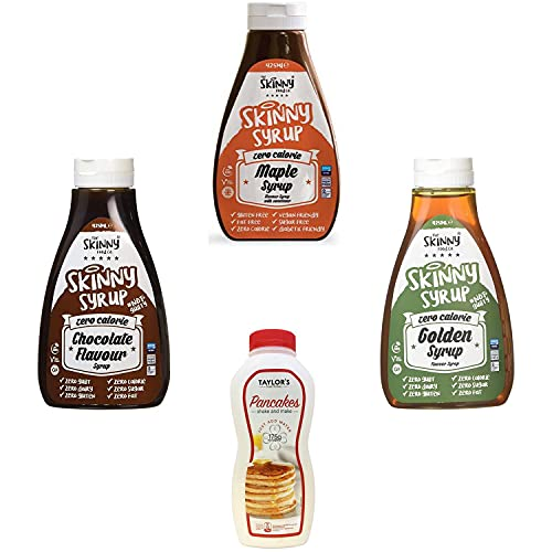 The Skinny Food Co. Kit with Goldern, Maple, Chocolate Flavour Syrup 425ml, Taylors Original Shake2Make Pancake Mix 175g | Caramel iced Sugar Free Maple Vanilla