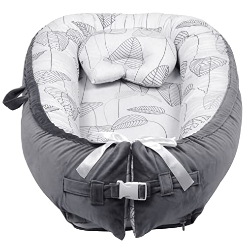 TOATON Baby Lounger, Baby Nest, Newborn Crib Co-Sleeping Bed with Pillow 100% Cotton Portable Baby Bassinet Perfect for Traveling and Napping, Baby Shower Gift(Leaves)