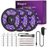 50ft UV LED Strip Lights - Waygor UV LED Light Strip 395nm to 405nm LED UV Black Light Strip Kit, 12V Flexible Blacklight Fixtures, Non-Waterproof for Dance, Party, Stage Lighting, Body Paint