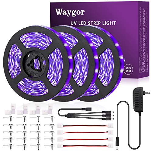 50ft UV LED Strip Lights - Waygor UV LED Light Strip 395nm to 405nm LED UV Black Light Strip Kit, 12V Flexible Blacklight Fixtures, Non-Waterproof for Dance, Party, Stage Lighting, Body Paint