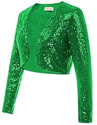 Green Sequin Fabric Long Sleeve Cropped Blazer Bolero Shrug