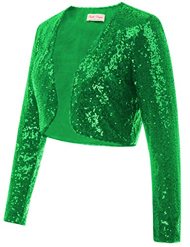 Belle Poque Women's Glitter Blazer Plus Size Sparkly Sequin Bolero Jacket Long Sleeve Open Front Cardigans for Dress (Green,2XL)