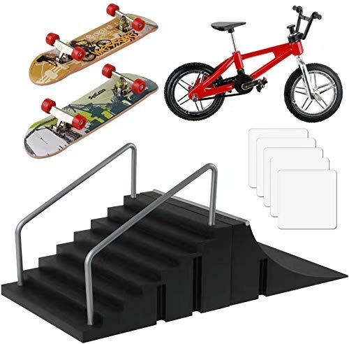Skate Park Kit, Skate Park Kit Ramp Teile für Finger Skateboard Fingerboard Rampe Skate Park Kit Teiltraining Requisiten mit 2 Finger Skateboard und 1 Finger Bike