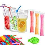 100 Pcs Drink Pouches with 100 Straws, YouCoulee Juice Pouches with 20 Pcs Disposable Freezable Ice Popsicle Mold Bags, Drink Pouches for Adults and Kids, Clear Pouch for Cold & Hot Drinks