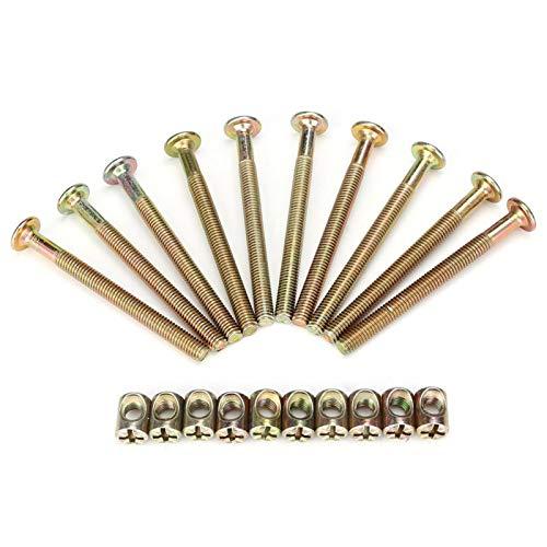 Pernos y tuercas para muebles M6, 10 pernos para muebles de acero al carbono de 70 mm con cierre de conector de tuercas cilíndricas de 6 mm
