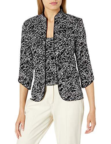 Alex Evenings Women's Mandarin Neck Twinset Tank Top and Jacket Petite Regular, Black/White, S