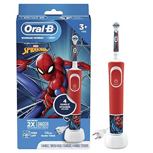 Oral-B Brosse à dents électrique pour enfants avec Spiderman de Marvel, pour enfants à partir de 3 ans