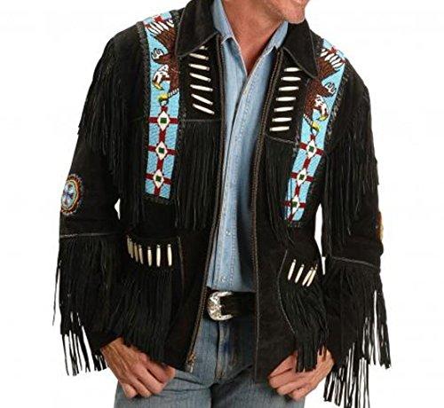 Vipconnection Western Cowboy - Chaqueta de Piel de Ante con Flecos para Hombre - Negro - XXL Pecho 117/122 cm