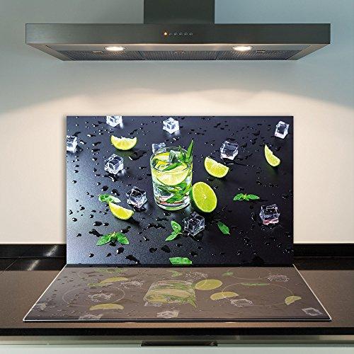 damu   para cubrir la vitrocerámica 1piezas 80x 52cm cubiertas de cristal fruta verde negro eléctrico Horno Cocina de inducción Placa de protección contra salpicaduras Cristal–Tabla de cortar