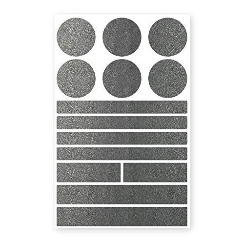 reflecto Stick-On Reflektoren-Aufkleber in edler Metallic-matt Optik – 14-teiliges Set – selbstklebend – für Textilien, Kinderwagen, Ranzen, Helme, Jogging Jacke Rucksack (schwarz)
