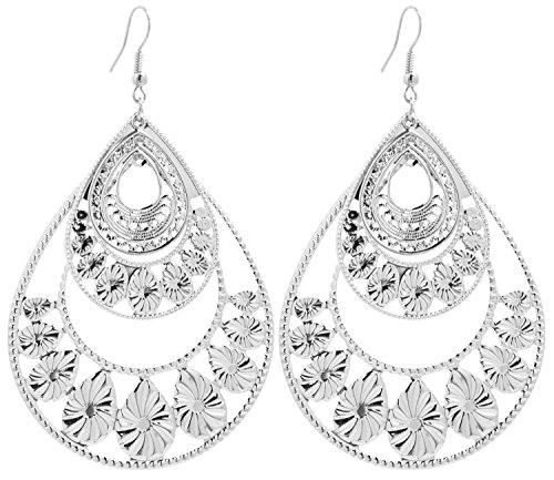 2LIVEfor Große Statement Ohrringe Silber Gold Tropfen Ohrringe lang Hängend Groß Blatt Ohrringe Bohemian Vintage sehr gross Halbmond Design Ornamente Blumen (Silber)
