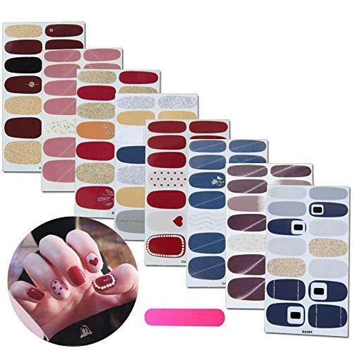 MWOOT Nagelsticker,Nagelaufkleber,Nagelkunst Sticker Selbstklebende Maniküre Sticker Schöne Mode DIY Dekoration 8 Blatt (112pcs) Nagelsticker