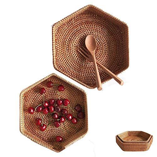 QULONG Bandeja de Almacenamiento de ratán de 2 uds con asa, Cesta de Pan Hexagonal para Bandeja para Servir Frutas, Bandeja de ratán Tejida a Mano, cestas de Mimbre para estantes