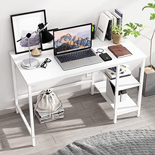 JOISCOPE Scrivania per Computer, Tavolo per Laptop, Scrittorio per Studio con Ripiani in Legno, Tavolo in Stile Industriale Realizzato in Legno e Metallo,120x60x75cm(Finitura bianca)