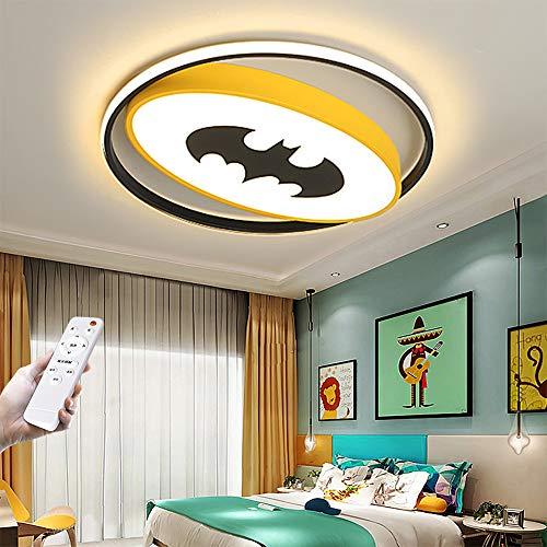 Lámpara De Techo LED Para Niños Creativa Batman Regulable Con Control Remoto Acrílico Ultrafino Lámpara Redonda Dibujos Animados Para Niños Dormitorio Sala De Estar Lámpara Decorativa Amarillo,40CM