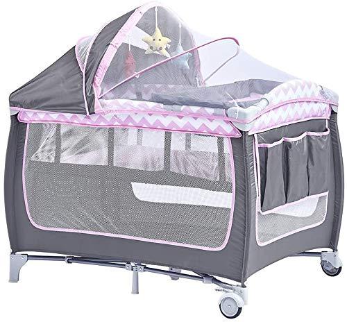 Cuna de viaje plegable, cuna de malla transpirable, Oxford tela cuna con colchón y la bolsa de asas,2 IN 1 Pink
