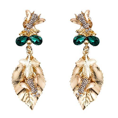 THj Pendientes de múltiples Capas con Hojas de Abeja exageradas con Diamantes Pendientes de Regalo de Temperamento Bohemio Femenino joyería