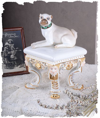 Vintage Porzellan Figur ARISTOKRATISCHER MOPS Rokoko SAMMLERSTÜCK Palazzo Exclusive