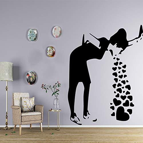 YuanMinglu Arte Graffiti Doodle Hermosa Chica extraíble Pegatinas de Pared decoración del Dormitorio Pegatinas de Pared decoración del Dormitorio Pegatinas de Pared 45x60 cm