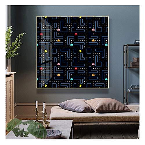 Clásico juego de Arcade Pac-Man pared arte lienzo pintura carteles nórdicos e impresiones cuadros de pared para la decoración del hogar de la sala de estar Regalos de decoración del hogar -24x24inch