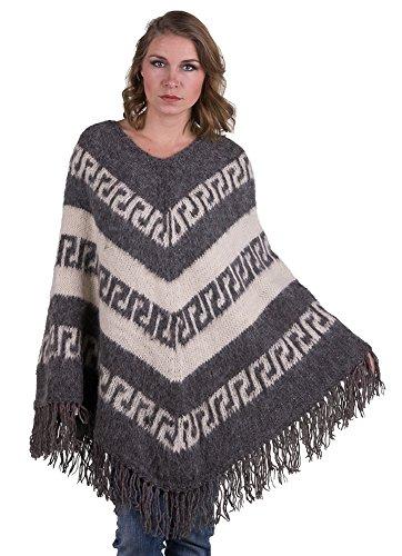 Gamboa - Warm und Weich Alpaka poncho für Damen mit eleganten Fransen am Rande - Rustikales Design in weißen und hellgrauen Streifen, Grau, Einheitsgröße
