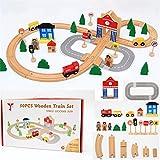 Juguetes De Construcción Para Niños 50PCS / Set de la Educación de bricolaje de madera ranura de tren de la pista del tren de Navidad rompecabezas de juguete Juguetes Para Niños En Edad Preescolar