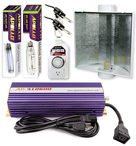 Apollo Horticulture GLK600LS24 600 Watt Grow Light Digital Dimmable HPS MH System for Plants Air Cool Hood Set